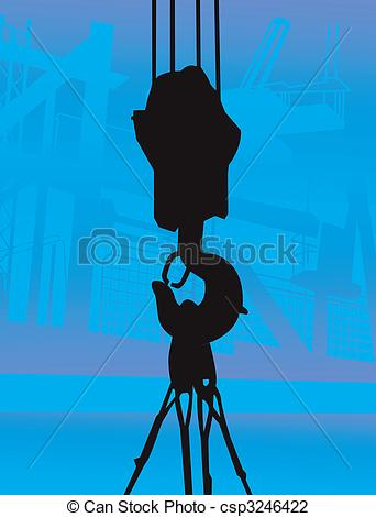 Clip Art of jaw clip of crane suspending a weight near a.