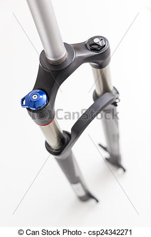 Picture of Generic mountain bike suspension fork on white.