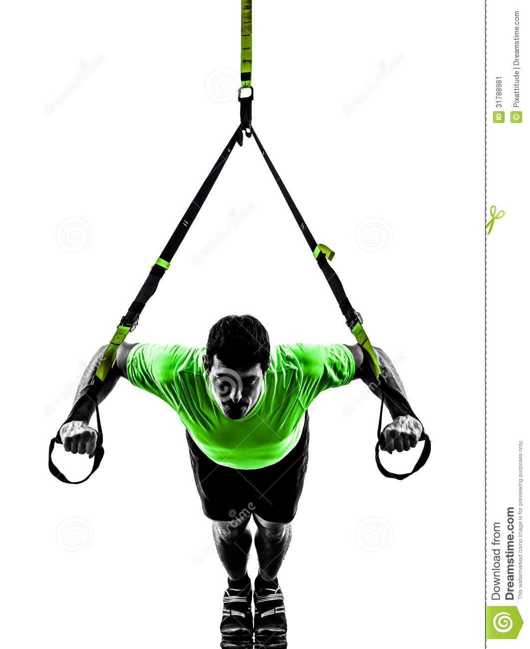 Man Exercising Suspension Training Trx Silhouette Stock Image.