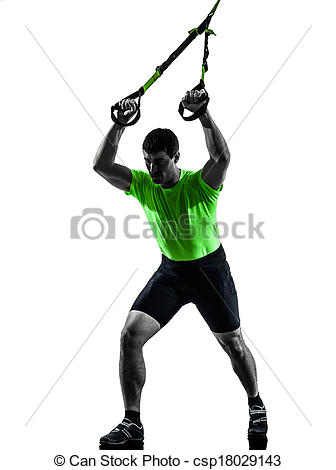 Stock Photo of man exercising suspension training trx silhouette.