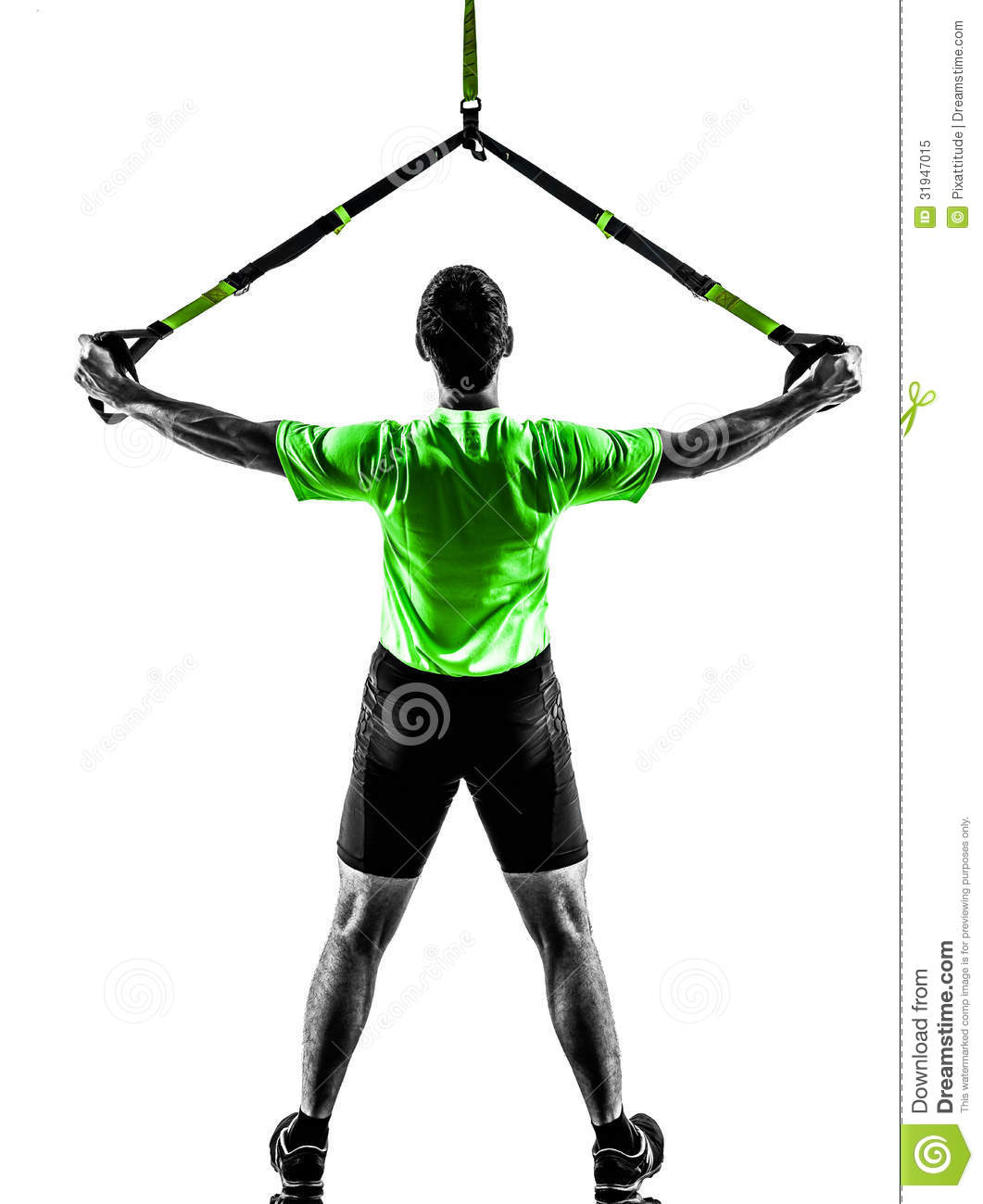 Man Exercising Suspension Training Trx Silhouette Royalty Free.