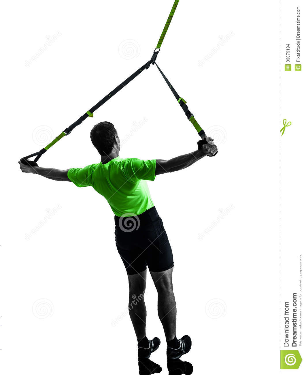 Man Exercising Suspension Training Trx Silhouette Stock Images.