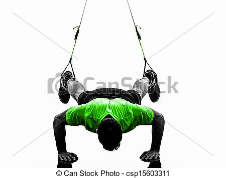 Stock Photography of man exercising suspension training trx.