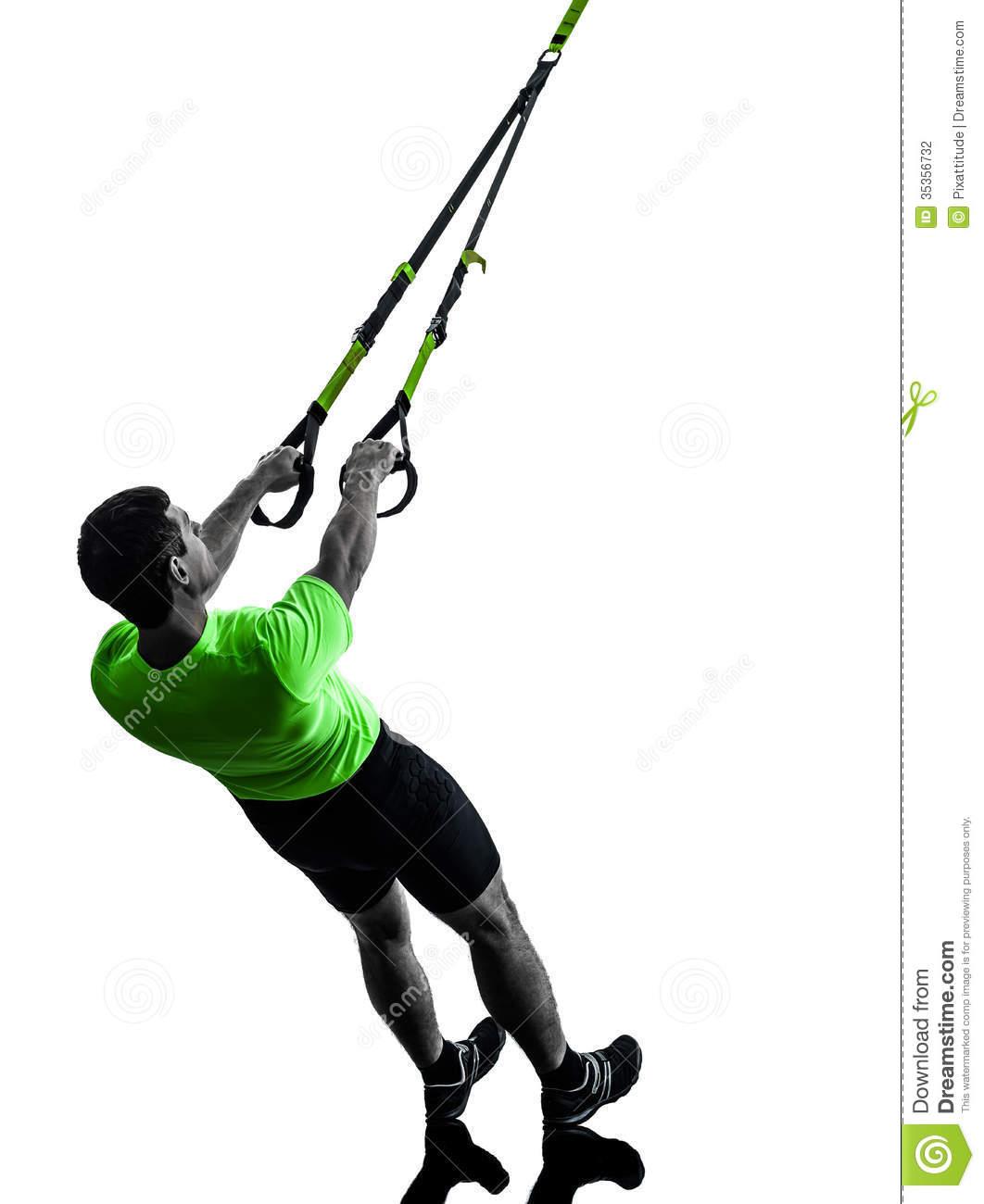 Man Exercising Suspension Training Trx Silhouette Stock.