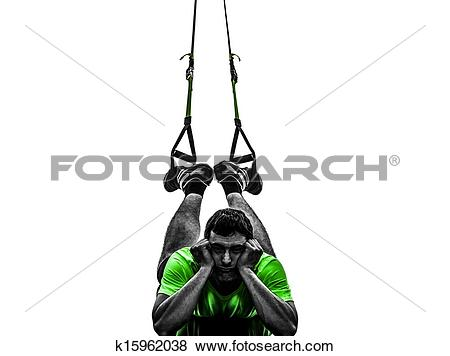 Pictures of man exercising suspension training trx tired pouting.