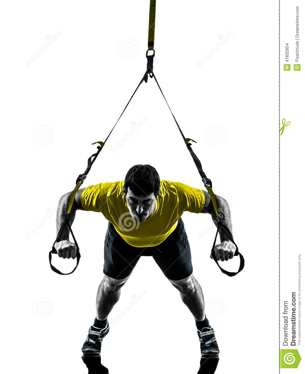Man Exercising Suspension Training Trx Silhouette Stock Photo.