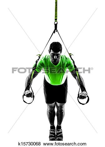Pictures of man exercising suspension training trx silhouette.
