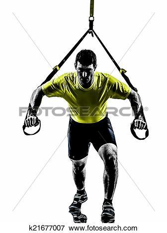 Picture of man exercising suspension training trx silhouette.