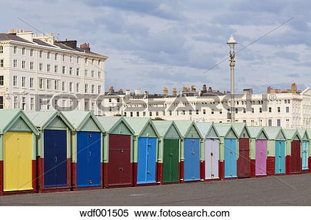 Stock Image of England, Sussex, Brighton, Coloured bathing huts at.