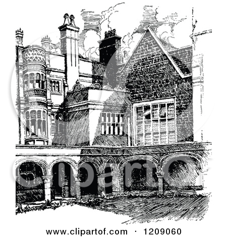 Clipart of a Vintage Black and White Sidney Sussex College in.