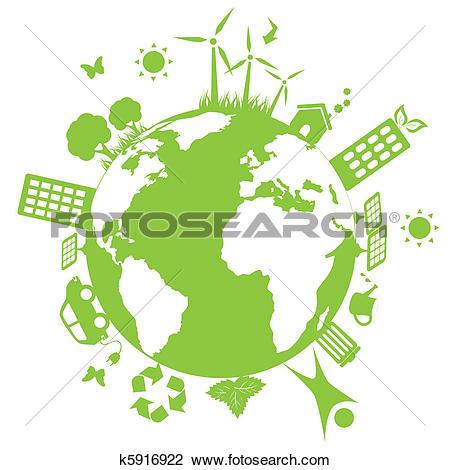 Clip Art of Solar panel landscape illustration k10225798.