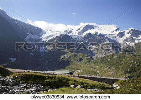 "Stock Photo of ""Stein Glacier, Stein Lake, Uri Alps, Susten Pass."
