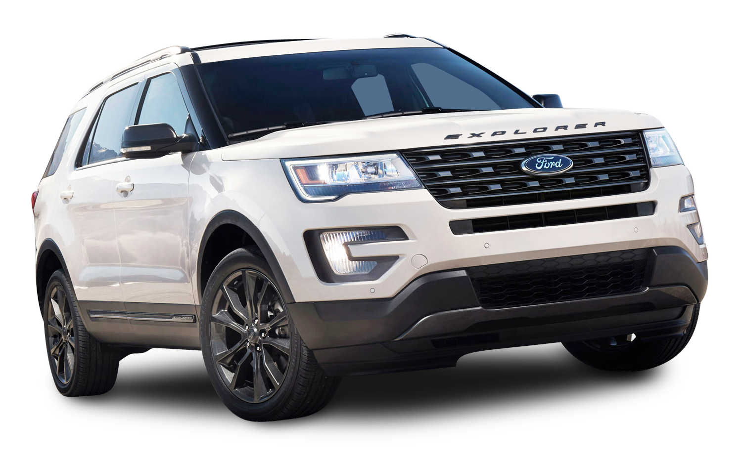 White Ford Explorer SUV Car PNG Image.