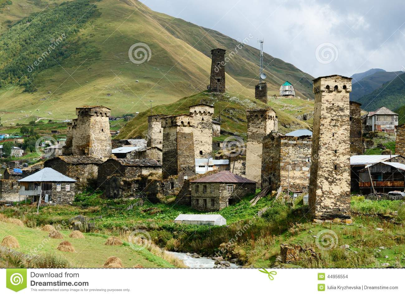 Chazhashi Village With Fortified Medieval Towers,Svaneti,Georgia.