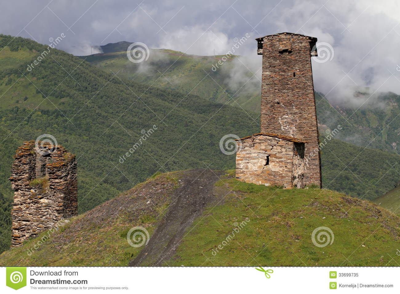 A Typical Svanetian Tower, Upper Svaneti, Georgia Royalty Free.