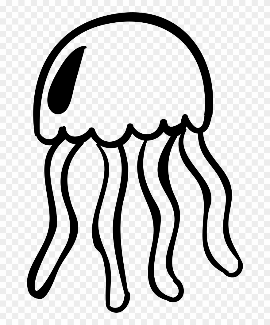 Jellyfish Svg Clipart Black.