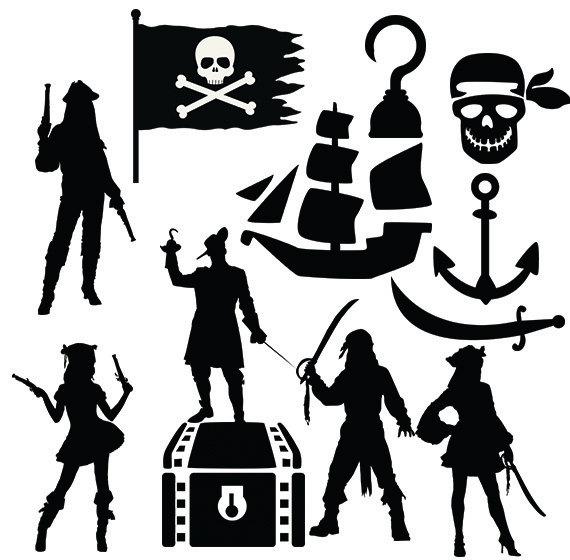 Pirates svg clipart silhouette.