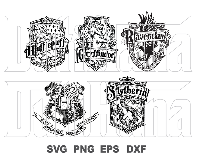 Harry Potter SVG Hogwarts House Badge logo Gryffindor Hufflepuff Ravenclaw  Slytherin Poster Party Decor svg png dxf cut filecameo cricut.