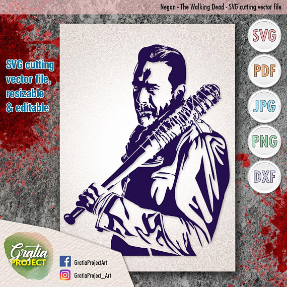 Negan The Walking Dead SVG Cutting vector file digital clip.