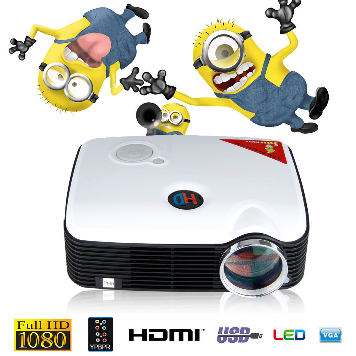 1080P SVGA 5000 Lumens LED LCD Home Business Projector HDMI Input.