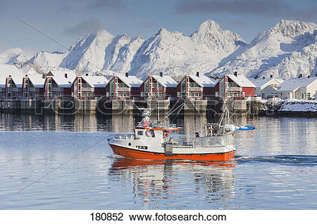 Stock Photo of Fishing boat in front of the harbour at Svolvaer in.