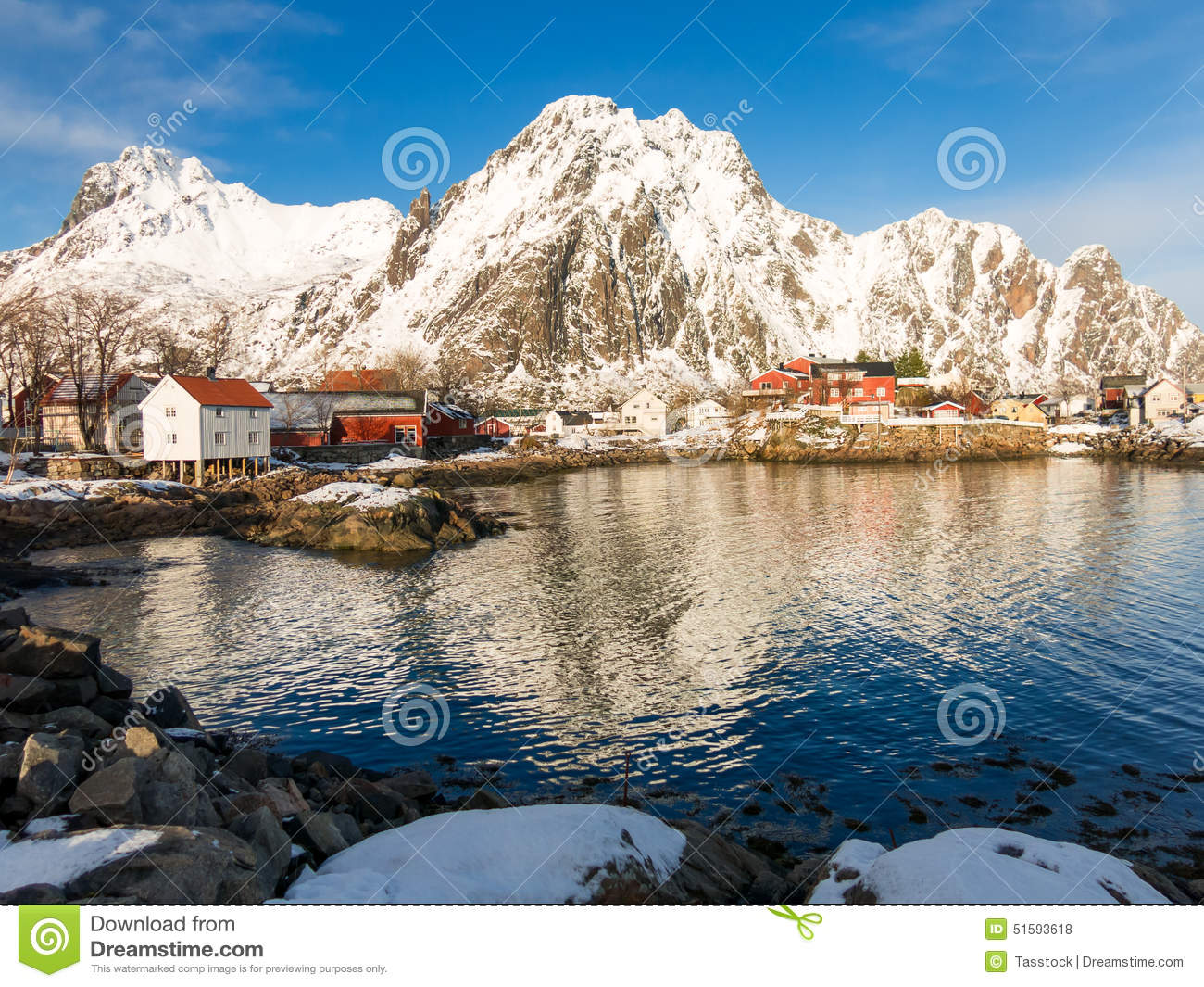 Winter View Of Svolvaer, Lofoten Islands, Norway Stock Photo.