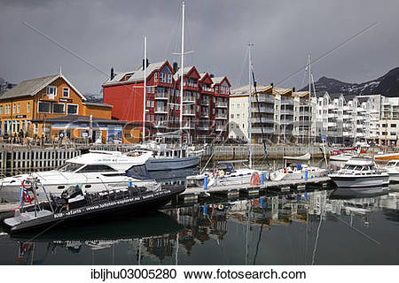 "Stock Photography of ""View of the harbor, Svolvaer, Svolvaer."