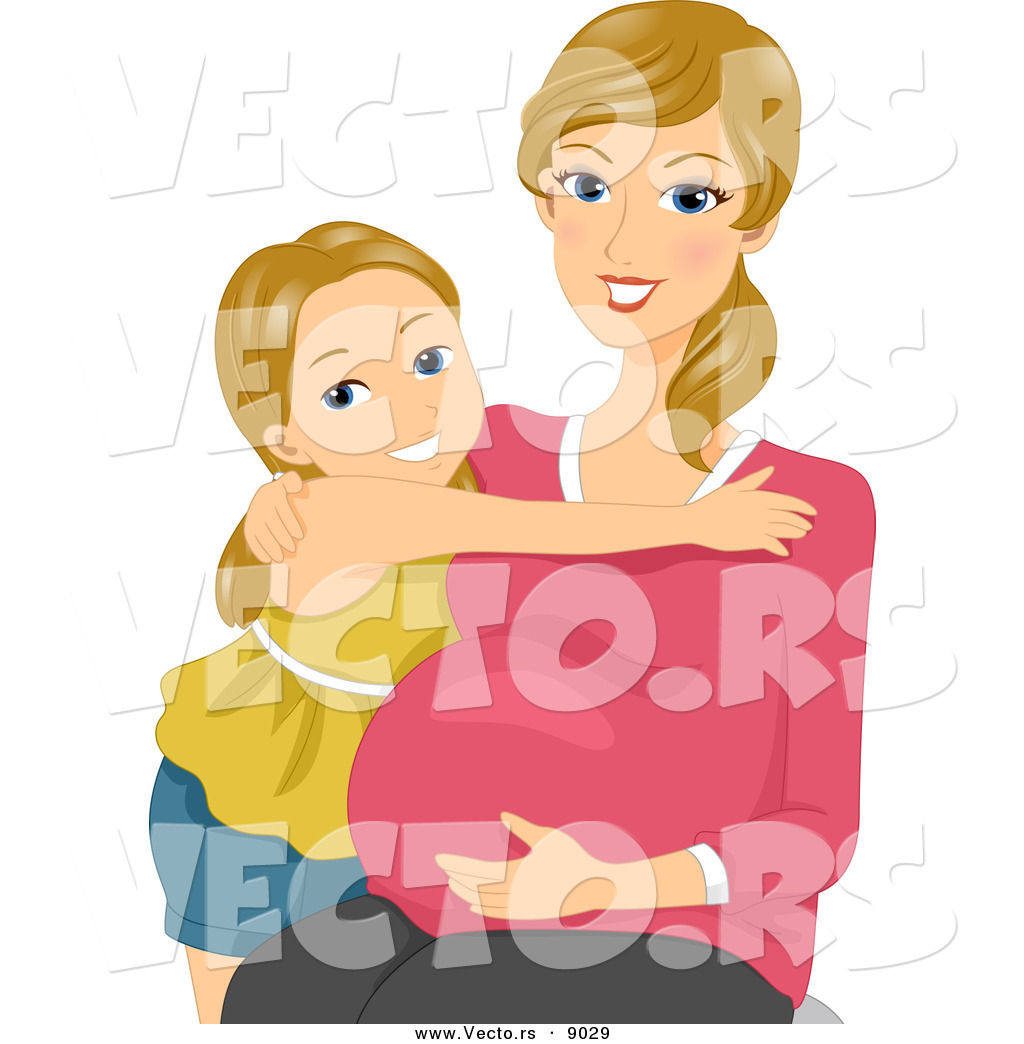 Vector of a Happy Pregnant Mother Embracing Her Daughter and.