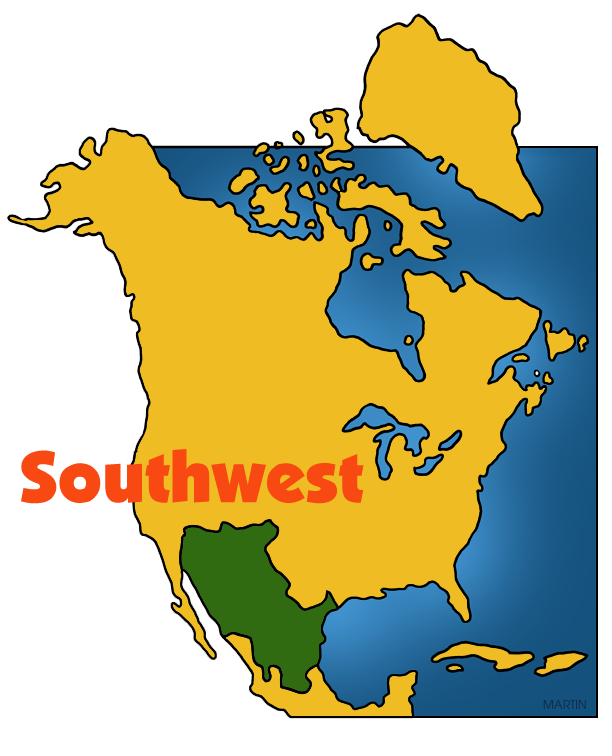 Free Native Americans Clip Art by Phillip Martin, Southwest Map.