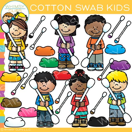 Cotton Swab Kids Clip Art.