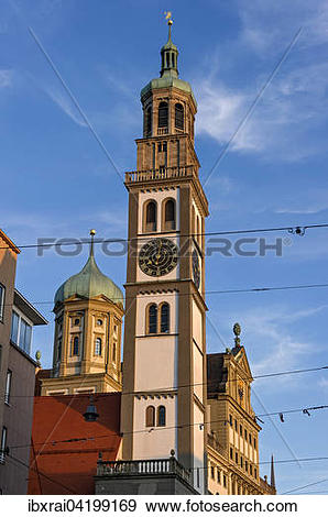 Stock Photograph of Perlach Tower and City Hall, Augsburg, Swabia.
