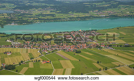 Stock Photo of Germany, Bavaria, Swabia, East Allgaeu, View to.