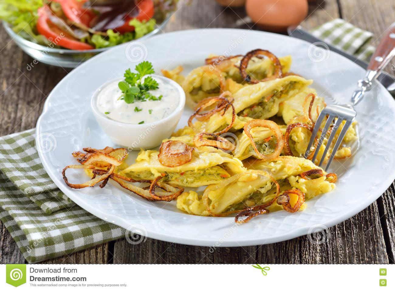 Fried Swabian Ravioli Stock Photo.