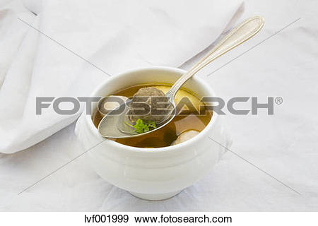 Stock Photograph of Soup bowl of Swabian Wedding soup on white.