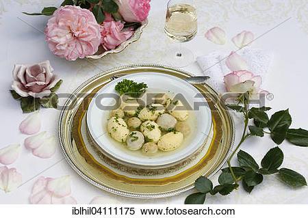 Stock Image of Swabian wedding soup, typical Swabian food.