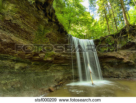 Stock Photograph of Germany, View of Murrhardt waterfall at.