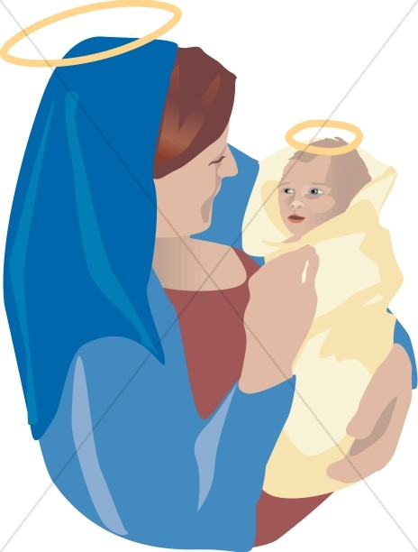 Baby Jesus is Swaddled by Mary.
