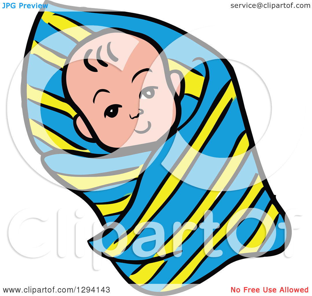 Clipart of a Cartoon Happy White Baby Swaddled in a Blanket.