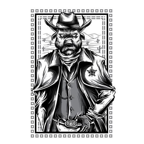 swag animal black and white illustration tshirt design.