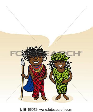 Clipart of Kenyan cartoon couple social bubble k15166072.