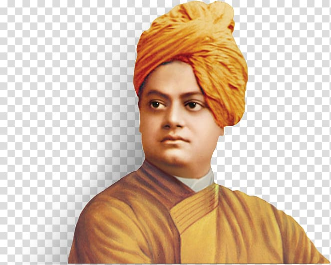 Man wearing orange turban hat, Swami Vivekananda Quotation.