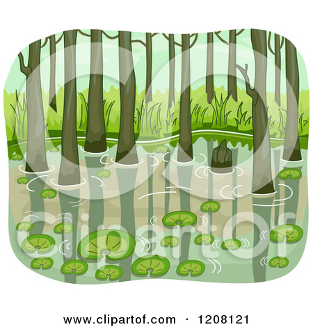 Cartoon of a Swamp with Lily Pads and Trees.