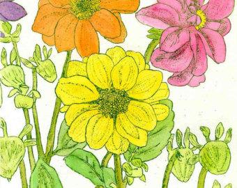 Georgia Swamp Flowers Original Etching & by StephanieScottArtist.