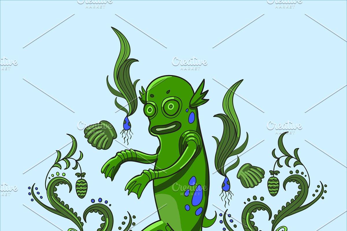 Swamp monster illustration.