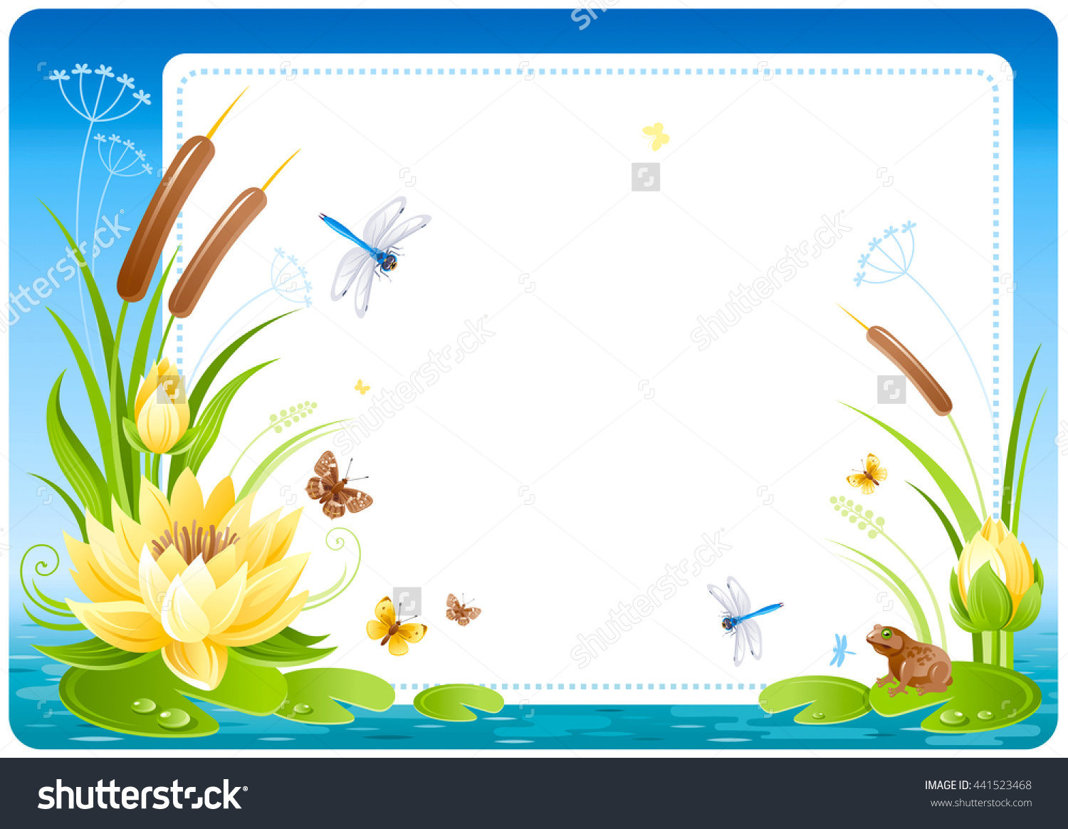 Floral Summer Background Frame With Lake Or Swamp Water, Lily.