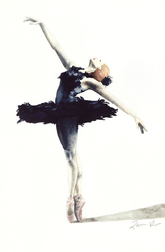 Black Swan Ballerina Feather Tutu Swan Lake by LauraRowStudio.