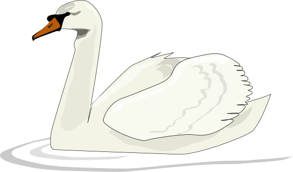 Swan Swimming clip art Free vector in Open office drawing.