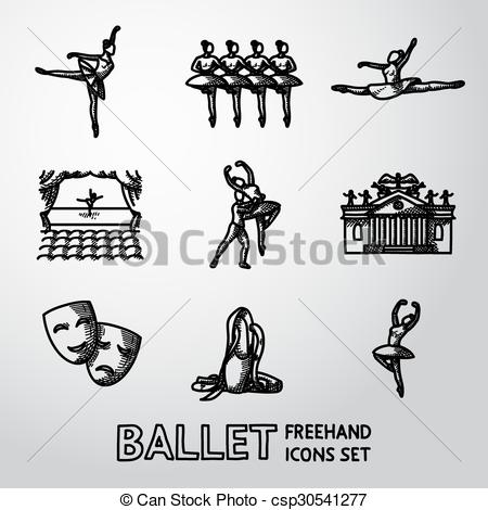 Vectors Illustration of Set of Ballet freehand icons with.