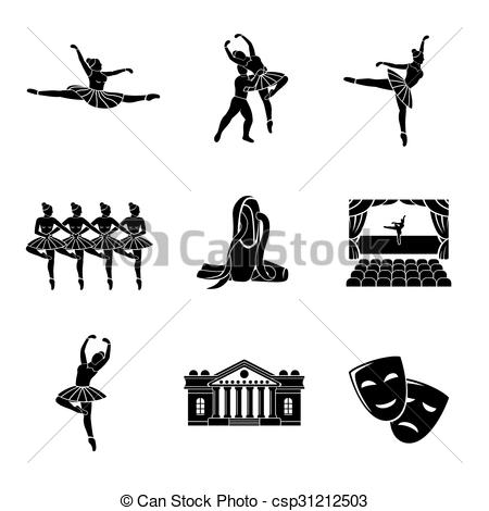 Vector Clipart of Set of Ballet monochrome icons with.