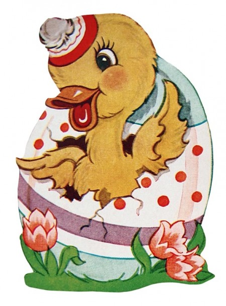 Retro Easter Hatching Duck Clip Art @ Vintage Fangirl.
